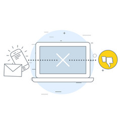 undelivered messages icon - poor communication vector image