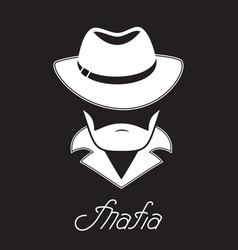 Unknown bearded man in a hat mafia hand lettering vector