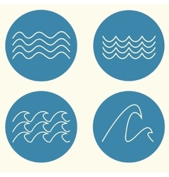Wave icon set vector