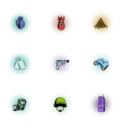 Weapons icons set pop-art style vector image