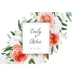 Wedding floral invite card with ivory flowers vector