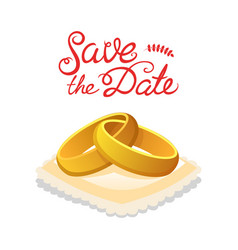 wedding gold rings for the bride and groom a vector image