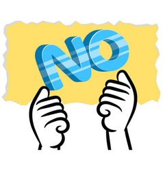 White man hand showing no on yellow paper vector