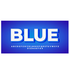 White with blue shadow 3d font styles design vector