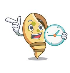 with clock sea shell character cartoon vector image