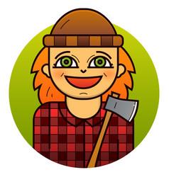 Woman lumberjack vector