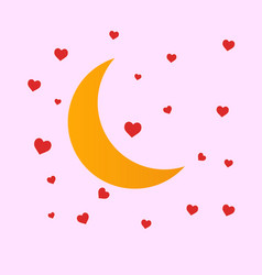 Yellow moon red hearts vector