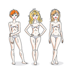 Young beautiful women standing in white underwear vector