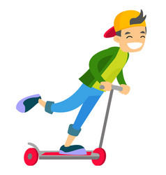 young caucasian white boy riding a kick scooter vector image