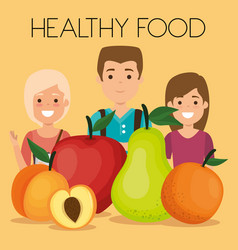 young people with fruits healthy food vector image