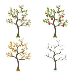 Four seasons trees art vector