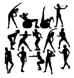 gym fitness and exercise silhouettes vector image vector image