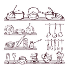 kitchen wooden shelves with different tools hand vector image vector image