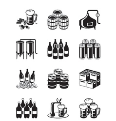 Beer and brewery icon set vector image vector image