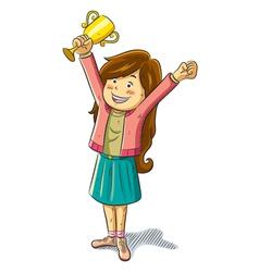 girl win a trophy vector image vector image