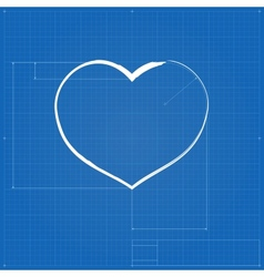 Heart symbol like blueprint drawing vector image vector image