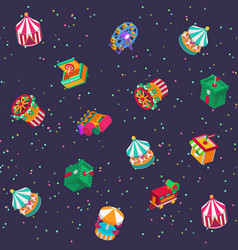 park amusement attractions isometric carousels vector image