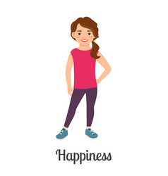 cartoon little happiness girl vector image vector image