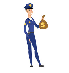 caucasian police woman holding a money bag vector image vector image