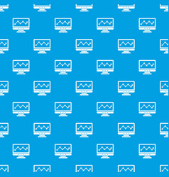 graph in computer screen pattern seamless blue vector image vector image