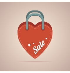 Heart paper bag with sale label vector image vector image