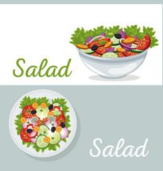 salad vegetables nutrition dinner poster vector image