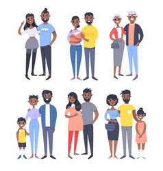 set of different black couples and families vector image