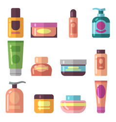 woman beauty cosmetics product flat icons vector image