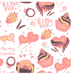 cake with pink gifts seamless pattern vector image vector image