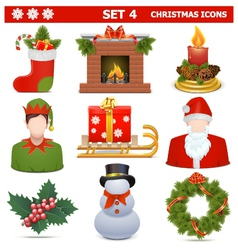 Christmas Icons Set 4 vector image vector image
