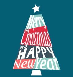 Colorful Merry Christmas and Happy New Year tree vector image vector image