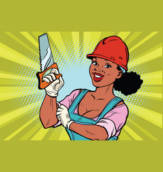 construction worker with saw woman professional vector image