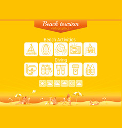 summer beach travel icon set infographics banner vector image
