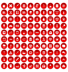 100 chemistry icons set red vector