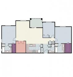 3 bed apartment floor plan vector