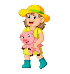 a farm girl holding a pig vector image