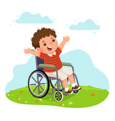 A happy disabled boy in a wheelchair vector