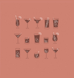 Alcohol drinks and cocktails icon flat set coral vector