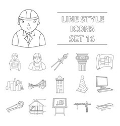 architect set icons in outline style big vector image