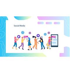 banner or landing template for social mrketing vector image
