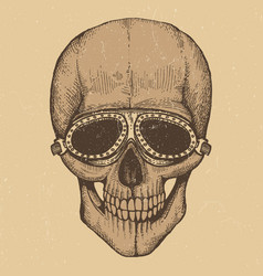 biker style hand drawn human skull with vector image