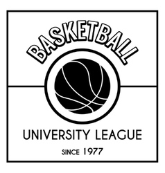 Black and white basketball emblem vector