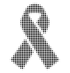 Black dotted mourning ribbon icon vector