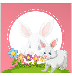 border template with cute bunny vector image