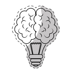 Brain and lightbulb bright idea icon image vector