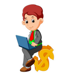 Bussinesman sitting dollar sign cartoon vector