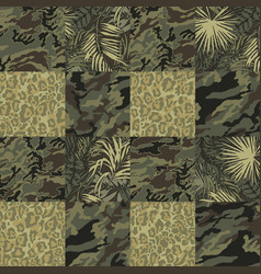 camouflage with tropical leaves and leopard skin vector image