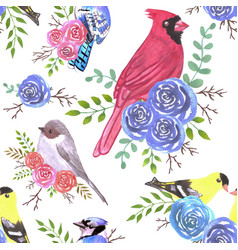 Cardinals bushtits blue jays and goldfinches on vector