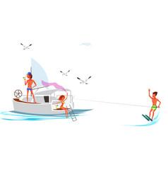 Cartoon friend spending fun time on yacht vector