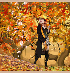 cartoon woman walking in the autumn forest vector image